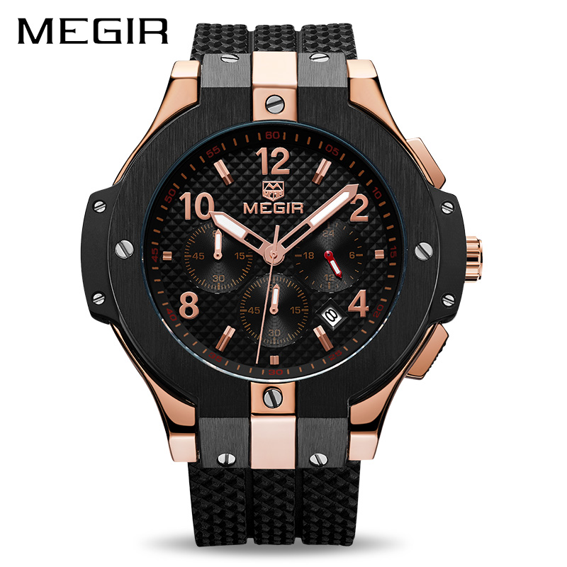 MEGIR Chronograph Sport Watch Men Creative Big Dial Army Military Quartz Watches Clock Men Wrist Watch Hour Relogio Masculino gift hot crazy selling army leather belt table trend of retro fashion blue big dial quartz watch clock men military sport watch