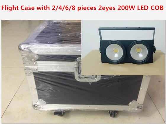 Flight Case with 2/4/6/8 pieces 2eyes 200W LED COB Blinder Cool White Lighting for Disco KTV Party Dmx controller Free Shipping