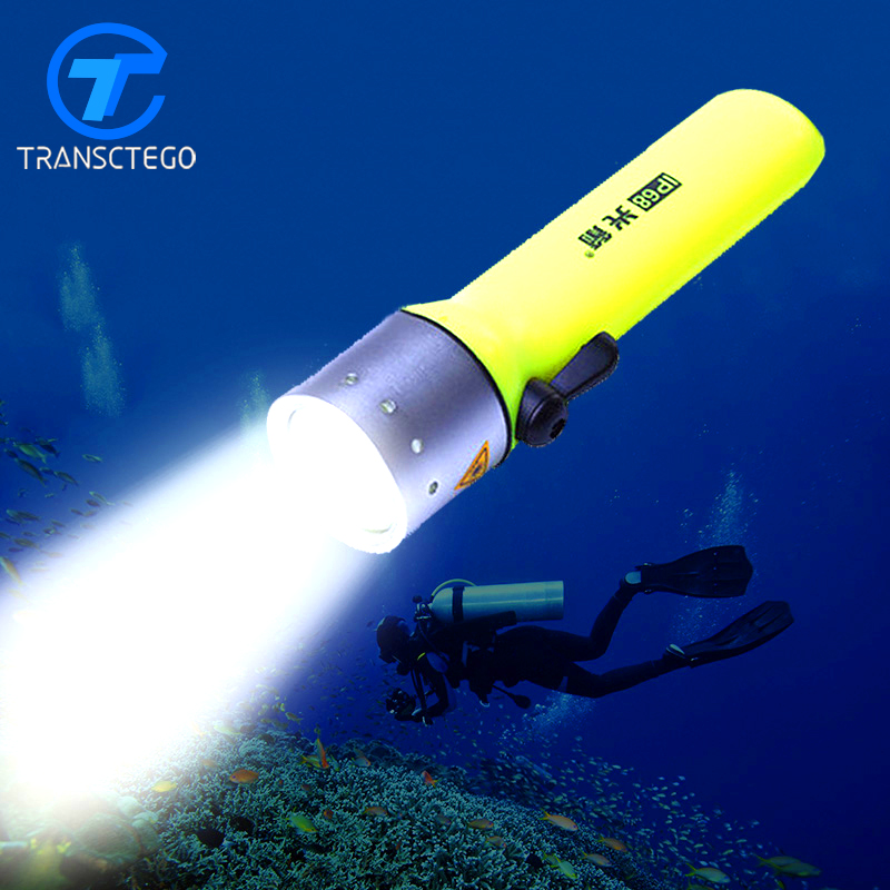 Waterproof Super T6 LED flashlight Brightness White Light marine flash light underwater scuba Diving Flashlamp Free shipping scuba dive light