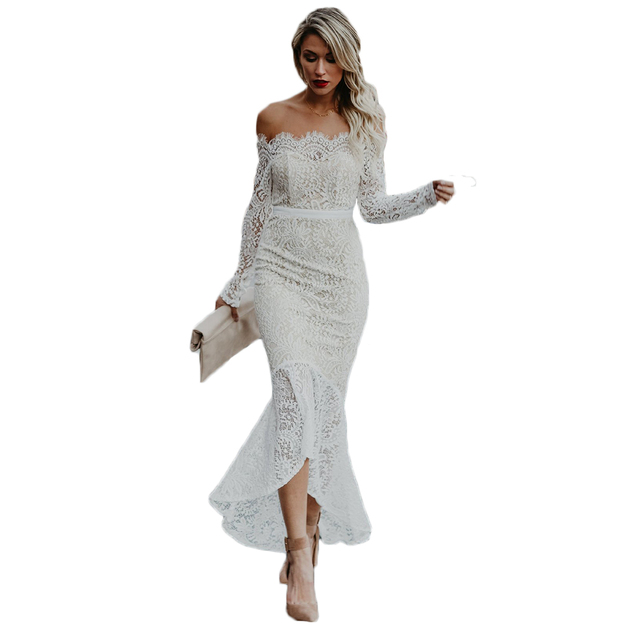 e8afcacd78e3 2017 Fashion White Long Sleeve Lace Dresses Women Maxi Mermaid Prom Party  Dress Sexy Off Shoulder Long Bodycon Dress Women dress