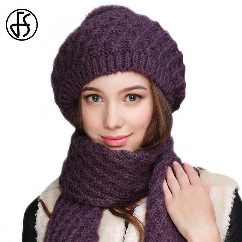 cc3b7b060bbc4 FS Autumn Winter Knitted Hat Scarf Set Mohair Caps Soft Pom Pom Neck Warm  Fashion Beret Style Women Skullies Female Beanies