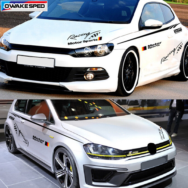 Motor Sport Racing Waistline Stripes Decal Car Door Side Stickers Waist Lines Decals For Volkswagen POLO Golf MK6 Scirocco