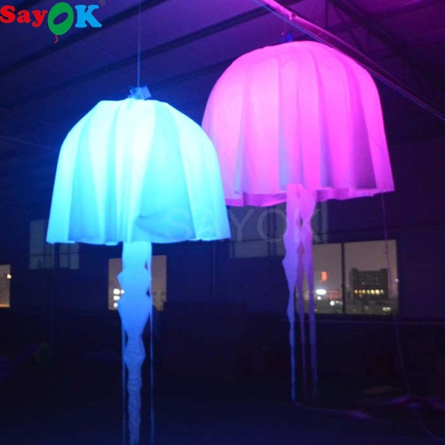 Sayok 1m/1.5m/2m Inflatable Hanging Jellyfish Balloon with RGB 17 Color Changing LED Light  Decorations for Party Concert Show