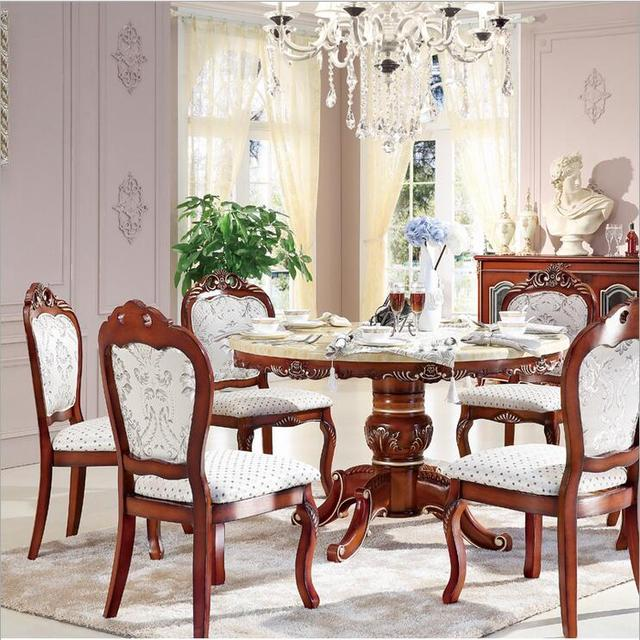 Style Italian Dining Table Round Solid Wood Italy Luxury Set With6 Chairs P10243