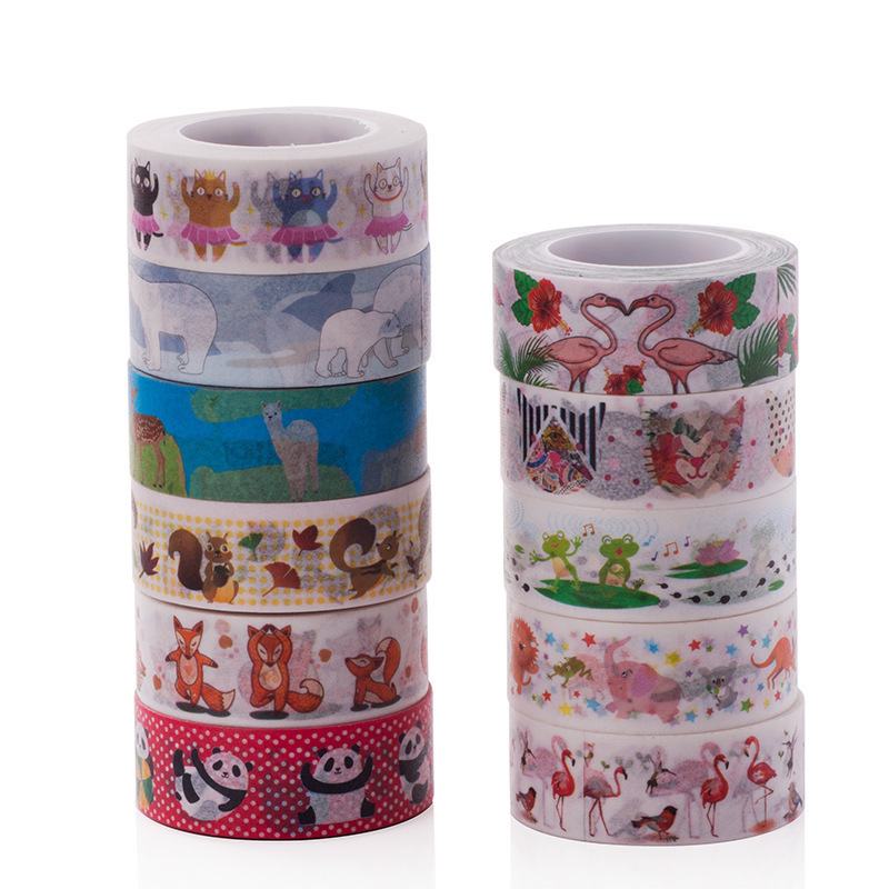 1PC New Cute Creative Flamingo Washi Tape DIY Decoration Scrapbooking Planner Masking Tape Adhesive Tape Kawaii Stationery