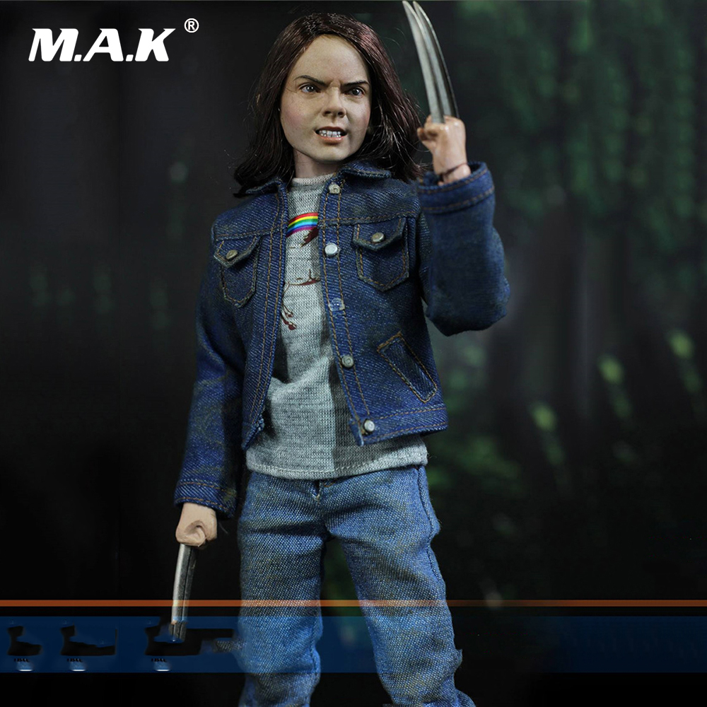 все цены на 1/6 Scale Girl Full Set Action Figure Wolverine Laura Kinney Jeans Head & Body & Clothing & Base Set Model With Wolf Claws онлайн