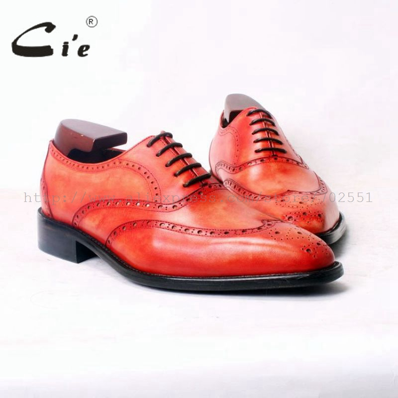 cie Square Toe WingTip Brogues Lacing Oxfords Patina Orange 100%Genuine Calf Leather Bespoke Leather Men Shoe Handmade Men OX379 cie square toe plain handmade men s lacing derby 100