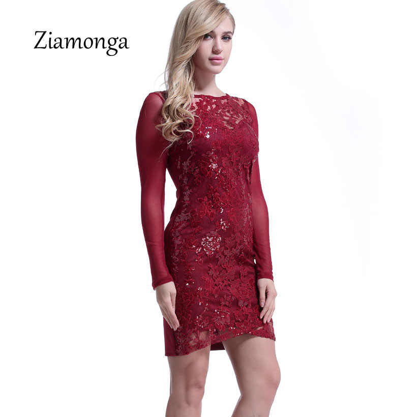 Ziamonga Black Blue Red Fashion Women Dress Sexy Embroidery Lace Dress Long Sleeve Sequin Bodycon Dress Evening Party Vestidos
