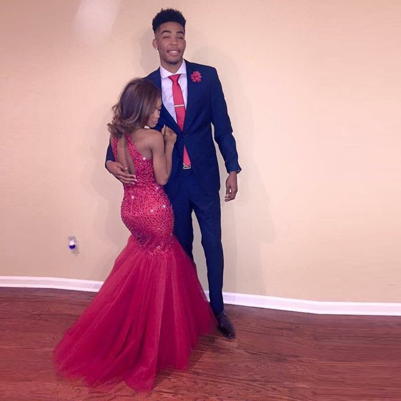 Long Mermaid Prom Dresses abendkleider 2017 Halter Beading Red ...