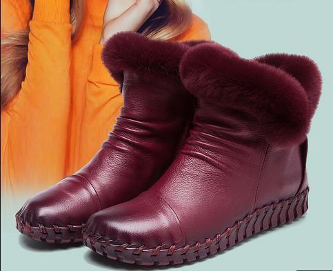 A68 Rex Rabbit Fur Winter Boots Genuine Leather 2017 Cowhide Women's Boots Cotton Shoes Soft-cotton Boots Women's Hand-stitched