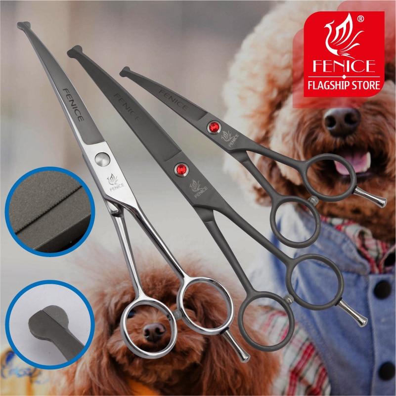 Fenice Högkvalitativ 4,5 7,0 tums sällskapsdjur stål säkert runda tips topp grooming liten sax verktygskurvblad 15 grader