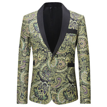 LOLDEAL Stylish Gold Tulips Pattern Casual Blazer Men Suit Jacket Gentleman Wedding Grooms Slim Fit Fashion Coat Outfit