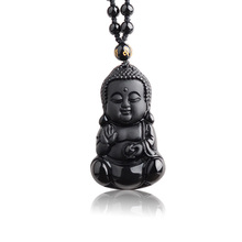 Natural Black Obsidian Carved Baby Buddha Pendant With Amulet Lucky Beads Chain Female Male Pendant Necklace Popular Jewelry все цены