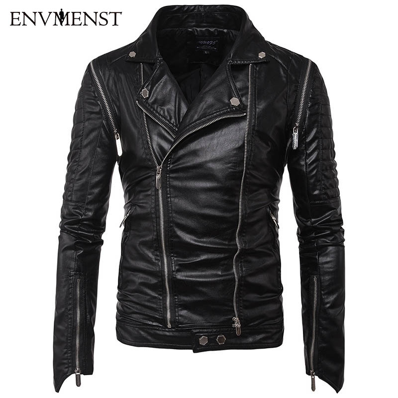 Envmenst 2017 New Style Men Multi zipper Slim Fit Turn Down Collar Casual Black Coats Male PU Motorcycle Leather Jacket