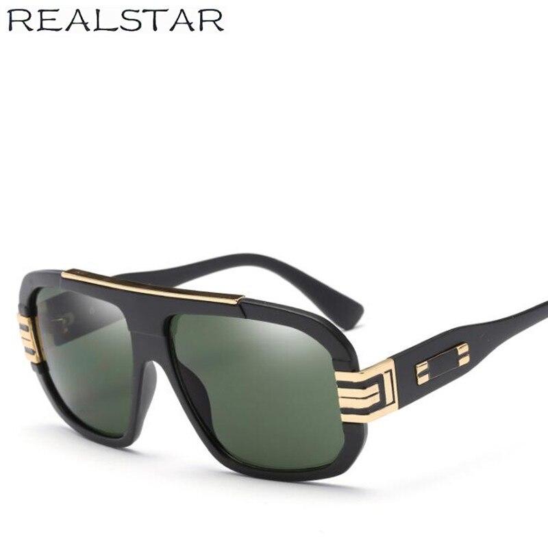 REALSTAR 2018 Top Designer Da Marca de Moda Óculos De Sol Dos Homens Plana  Retro Oversized b892ddfc96