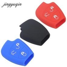 Jingyuqin 3/4 Knop Siliconen Remote Key Case Voor Mercedes Benz B C E Ml Clk Cl Fob Cover houder Keyless Entry Beschermende