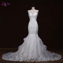 Waulizane Charming Appliques Tulle V-Neck Mermaid Wedding Dresses Brush Kereta Backless Spaghetti Straps Beadings Bride Gowns