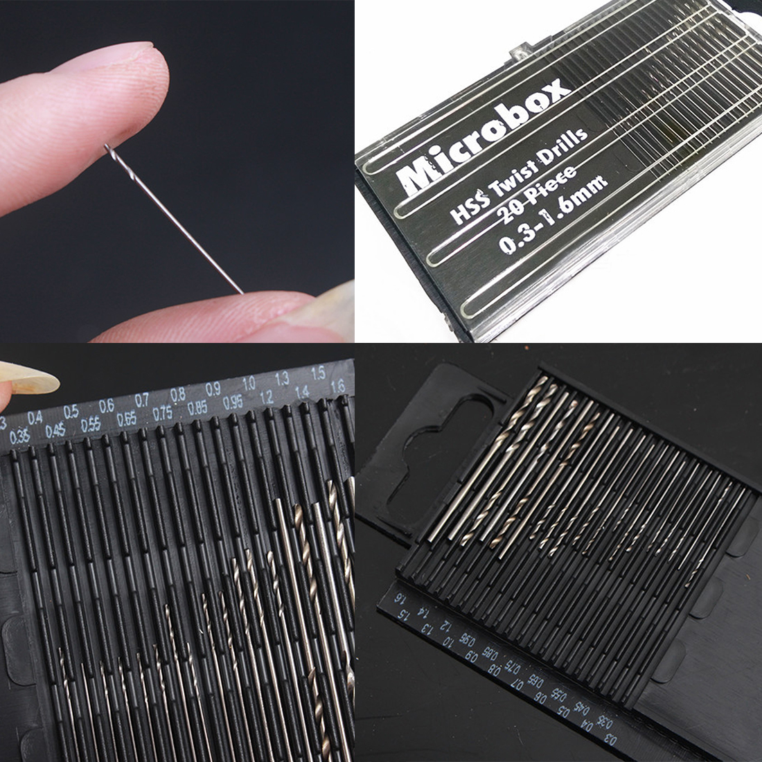 20Pcs Mini Drill Bit Set HSS Micro Twist Drill Bit Set 0.3mm-1.6mm Model Craft With Case Repair Tools Tiny Micro Twist Drill Bit