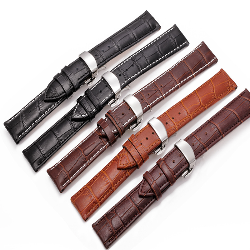 Watchbands Leather WatchBand Stainless Steel butterfly Clasp Watch Band Leather Strap 18 20 mm