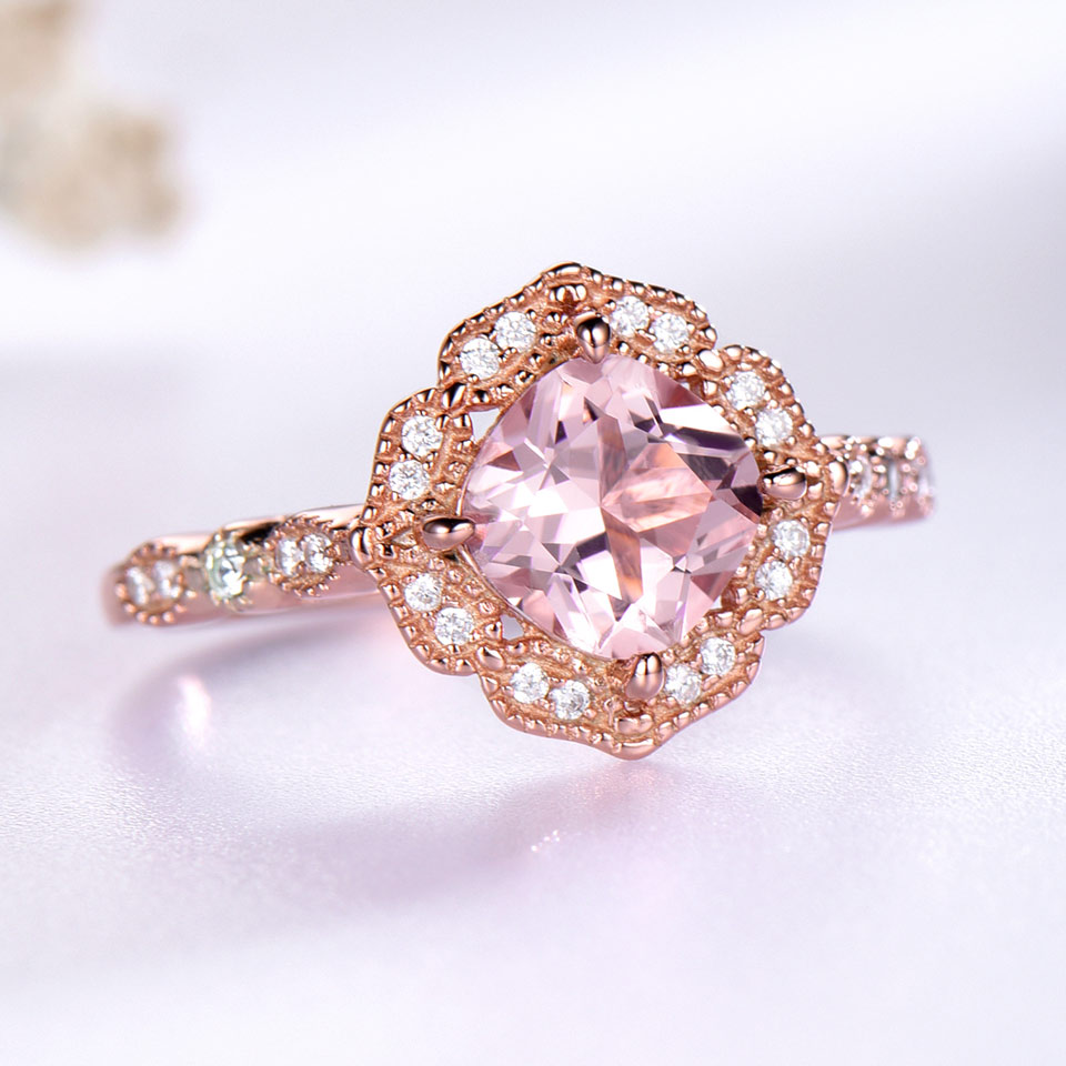 UMCHO Silver 925 Nano Morganite Rings For Women Engagement Party ...