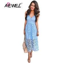 1546ca695861d4 ADEWEL 2018 Sexy Light Blue Spaghetti Strap Flower Lace Midi Party Dress  Women Elegant Sleeveless Backless Skater A-line Dresses
