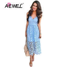 ADEWEL 2019 Sexy Light Blue Spaghetti Strap Flower Lace Midi Party Dress Women Elegant Sleeveless Backless Skater A-line Dresses