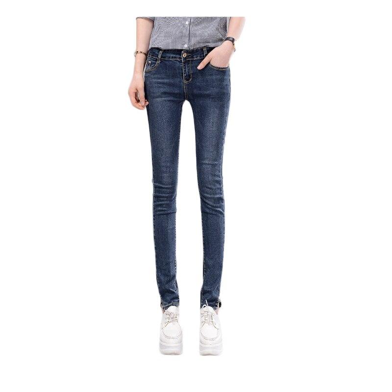 2016 New korea style women jeans,look higher,pencil pants high waist Woman jeans,femme pants,Bleached washed blue denim C1291