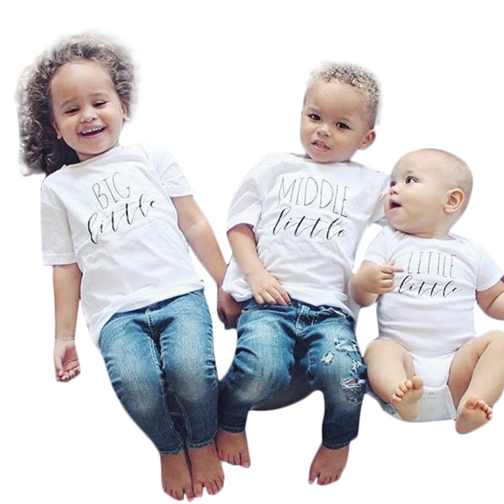 SZYADEOU Kids Infant Toddler Baby Summer T-<font><b>Shirt</b></font> baby Girls Boys meisje clothes Outfits Middle Little Sibling Matching <font><b>twin</b></font> L5 image