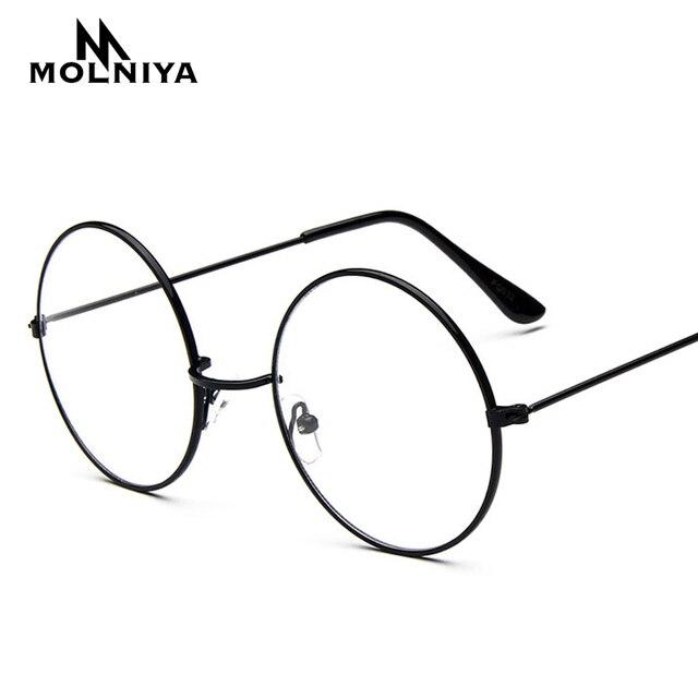 5bae90842b Fashion Harajuku Retro Round Glasses Frame Women Myopia Oversize Metal  Eyeglasses Optical Prescription Lens Plain Mirror