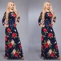 Новый 2017 Женщины Винтаж Цветочный Печати Maxi Dress Three Четверти Рукав О-Образным Вырезом Туника Повседневная Длинные Dress Синий vestidos longos