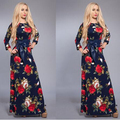 New 2017 Women Vintage Flower Print Maxi Dress Three Quarter Sleeve O-neck Tunic Casual Long Dress Blue vestidos longos
