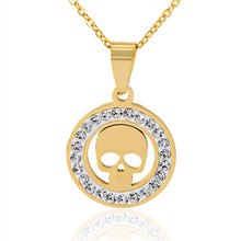 New Fashion Luxury Gold&Silver Color Zircon Crystal Skeleton stainless steel Pendants Necklaces Jewelry For Women  X-978