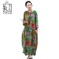 LZJN Plus Size Women Maxi Dress 2017 Autumn Long Dresses Floral Ethnic Gown Full Batwing Sleeve