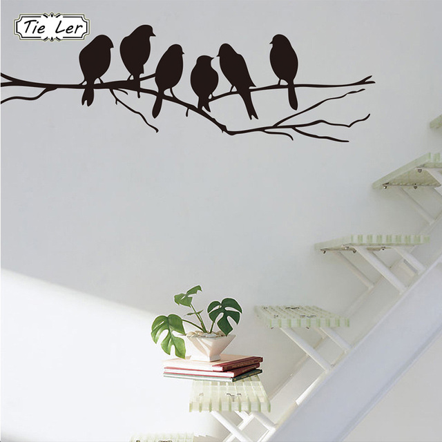 05e1a5fb5e 1 pcs Removable Black Birds Tree Branch PVC Stickers Mural Art Decal Home  Room Decoration Wall
