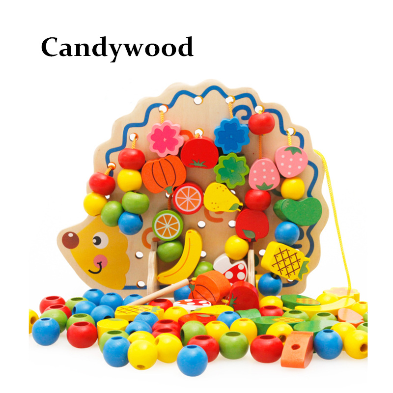 Wooden font b Toys b font Hedgehog Fruit Beads blocks Child Hand Eye Coordination Skills Development