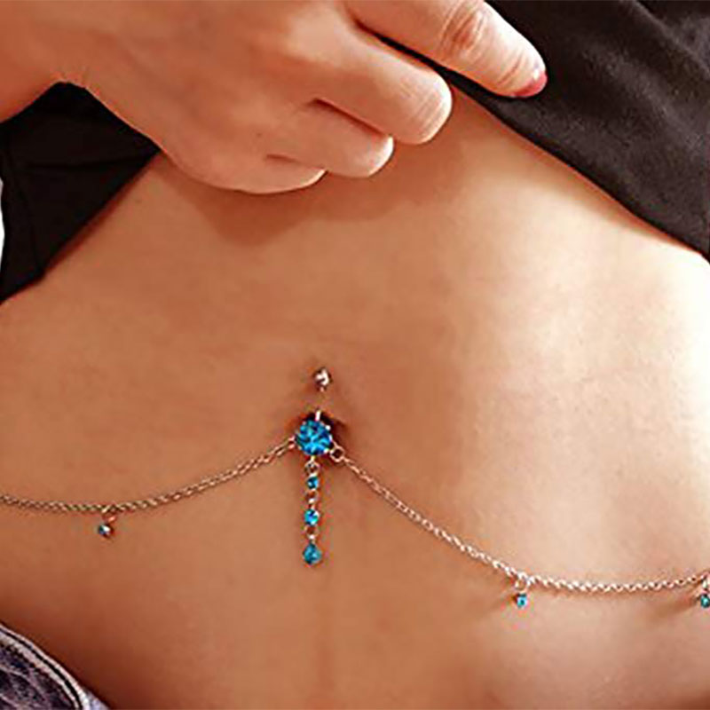 HTB19px0bbr1gK0jSZR0q6zP8XXaR Blue Zircon Pendant Sexy Rhinestone Dangle Belly Button Chain