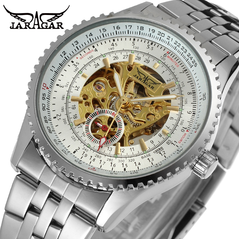 Men s Stainless Steel Watch Automatic Skeleton Male Luxury Brand Silver Dress watches Men Wristwatch