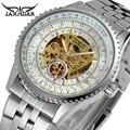 Relógio Automático de Esqueleto de Aço Inoxidável dos homens Masculinos de Prata Marca De Luxo Vestido de relógios Homens relógio de Pulso