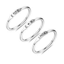 AILIN 3 teile/satz Charme Stapelbar Ring Set Männer Frauen Ringe Gravur Name Ring Nach Name Ringe 925 Silber Ringe
