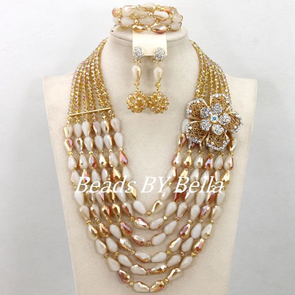 Gold Crystal Beads Necklace African Wedding Bridal Jewelry Set Women Costume Jewelry Set Fashion New Free Shipping ABY034Gold Crystal Beads Necklace African Wedding Bridal Jewelry Set Women Costume Jewelry Set Fashion New Free Shipping ABY034
