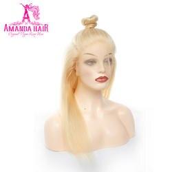 Аманда прямые волосы длиной полные индийский Волосы remy #613 золотистый блондин 150% плотность полный кружева парики человеческих волос с для