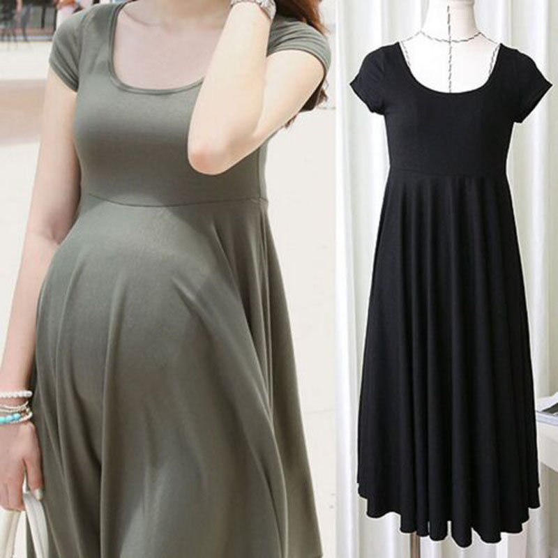 Maternity Dresses Clothes For Pregnant Women Clothing O-neck Short Sleeve 4 Colors Slim Pregnancy Dress Wear 2017 Summer Fashion