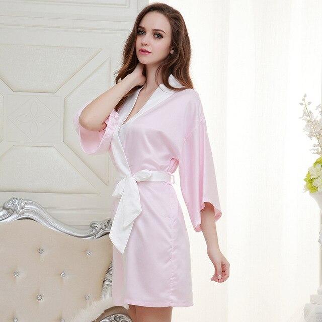 Ladies Silk Satin Short Kimono Night Gown 5