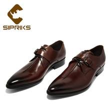 Sipriks/Большие размеры 36-45; мужские туфли с ремешком в стиле монах; мужские туфли с острым носком и пряжкой на ремешке; мужские туфли из натуральной кожи; красные, коричневые свадебные туфли