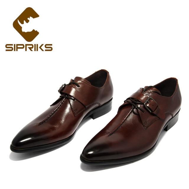 Sipriks hombres solo monje Correa zapatos punta Derby zapatos con hebilla  correas jefe cuero de grano 1c51283bd0e0