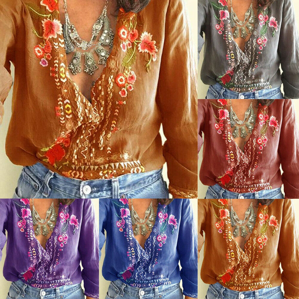 New Hot Sale Large Size Boho Women's Floral Embroidery Summer Top   Blouses   Long Sleeve Beach Loose   Blouse   Tops   Shirts   Clothes