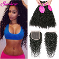 Brazilian Kinky Curly Virgin Hair With Closure 3 Bundles With Closure Curly Hair With Closure Brazilian Virgin Hair With Closure
