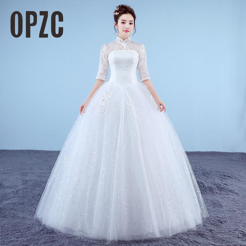 White Princess Cheap Girls Wedding Dresses 2017 New Korean Style Retro Lace Half Sleeve High Neck Bridal Gown vestido de noiva