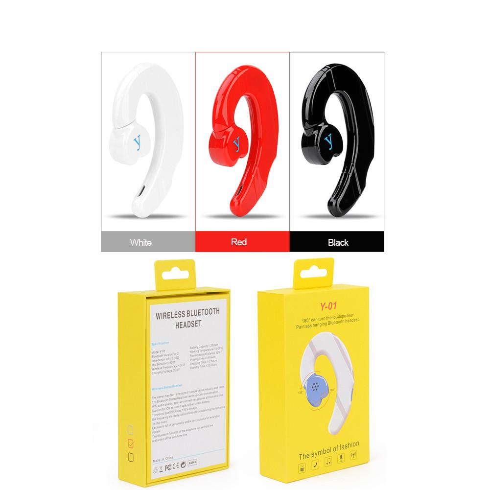 Bluetooth 4.2 Headphones Y-01 Earhook Wireless Bone Conduction Rotating Headphones Universal image