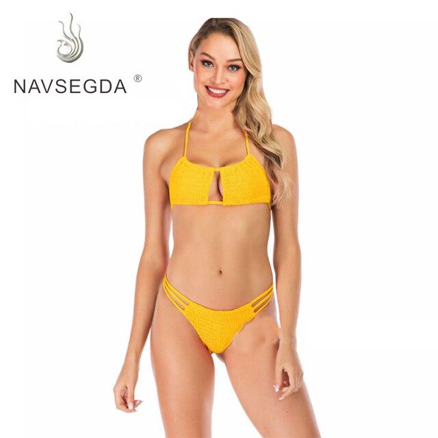 Nuevo Traje De Baño Sexi Bikini Color Sólido Para Chicas Arrugadas Mujeres Tres Puntos Mujer
